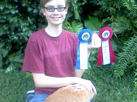 Here's Sarah's boy, showing off her first wins.